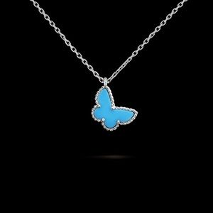 White Gold Necklace with Turquoise Butterfly